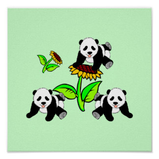 Sunflower Panda Bears Print