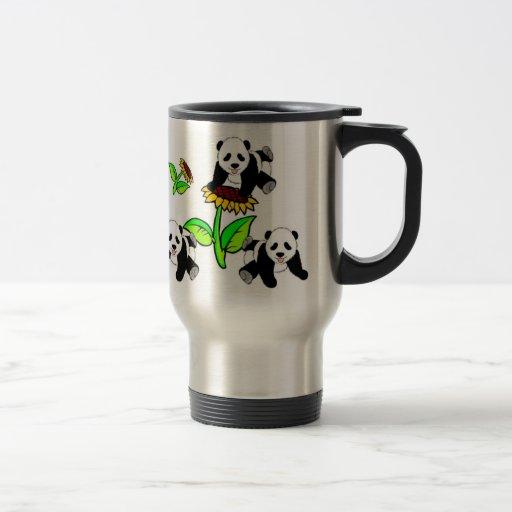 Sunflower Panda Bears Stainless Steel Travel Mug