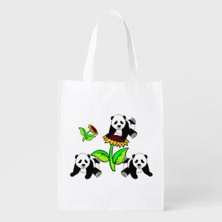 Sunflower Pandas Reusable Grocery Bag