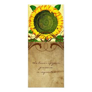 Sunflower Parchment Tall Wedding Invitation