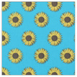 sunflower pattern fabric blue