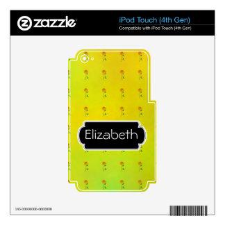 Sunflower Pattern Monogram MP3 Skin iPod Touch 4G Decals