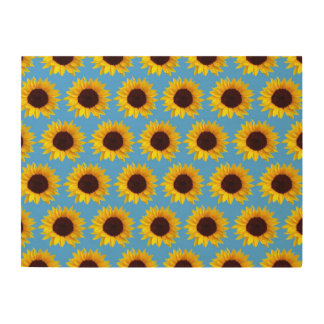 Sunflower Pattern Wood Canvas
