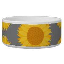 Sunflower Pattern. Yellow and Gray. Bowl