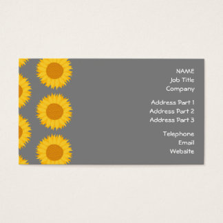 Sunflower Pattern. Yellow and Gray. Business Card