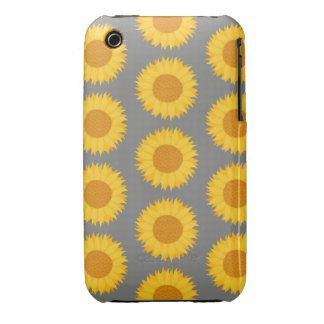Sunflower Pattern. Yellow and Gray. Case-Mate iPhone 3 Cases