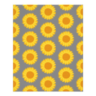 Sunflower Pattern Yellow and Gray Flyer Design