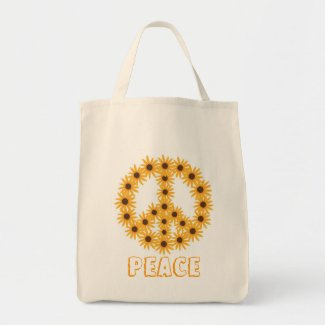 Sunflower Peace Sign Canvas Bags