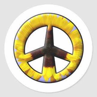 Sunflower Peace Sign Classic Round Sticker