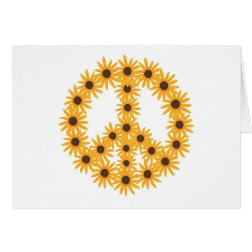 Sunflower Peace Sign Greeting Cards