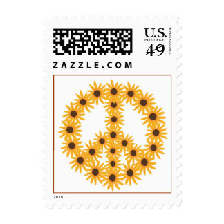 Sunflower Peace Sign Postage Stamps