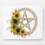 Sunflower Pentagram Mouse Pad