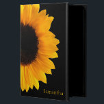 "Sunflower Personalized iPad Air 2 Case<br><div class=""desc"">Pretty iPad Air 2 case done in jet black,  with a photograph of a large yellow sunflower bloom.  Personalize the yellow text,  on the front of the case,  to suit your needs.</div>"