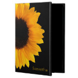 Sunflower Personalized iPad Air 2 Case<br><div class='desc'>Pretty iPad Air 2 case done in jet black,  with a photograph of a large yellow sunflower bloom.  Personalize the yellow text,  on the front of the case,  to suit your needs.</div>