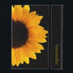 "Sunflower Personalized iPad Case<br><div class=""desc"">Pretty iPad 2/3/4 case done in jet black,  with a photograph of a large yellow sunflower bloom.  Personalize the yellow text,  on the front of the case,  to suit your needs.</div>"
