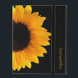 """Sunflower Personalized iPad Case<br><div class=""""desc"""">Pretty iPad 2/3/4 case done in jet black,  with a photograph of a large yellow sunflower bloom.  Personalize the yellow text,  on the front of the case,  to suit your needs.</div>"""
