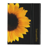 Sunflower Personalized iPad Case<br><div class='desc'>Pretty iPad 2/3/4 case done in jet black,  with a photograph of a large yellow sunflower bloom.  Personalize the yellow text,  on the front of the case,  to suit your needs.</div>