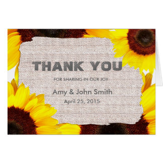 Sunflower personalized wedding thank you stationery note card