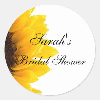 Sunflower Photo Bridal Shower Round Stickers