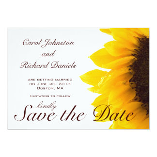Sunflower Photo Floral Save the Date Card Custom Invites