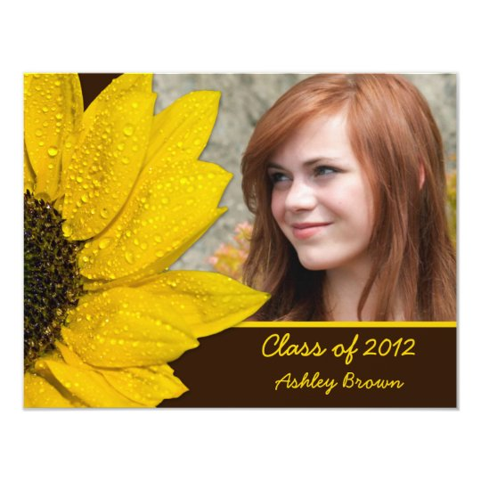 Sunflower Photo Graduation Invitation