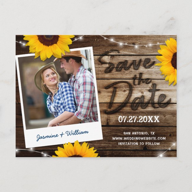 Sunflower Photo Rustic Wood Wedding Save the Date Announcement Postcard