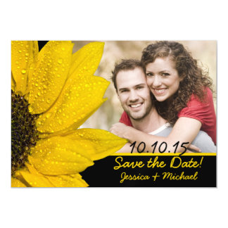 Sunflower Photo Wedding Save the Date Magnet
