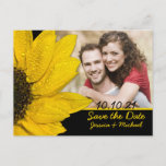 Sunflower Photo Wedding Save the Date Postcard