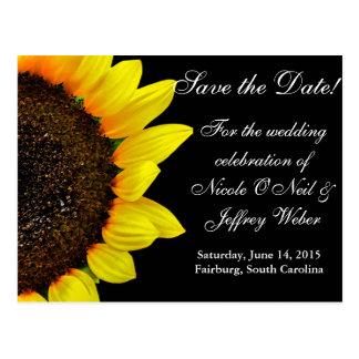 Sunflower Photography Custom Wedding Save the Date Postcard