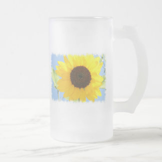 Sunflower Picture Frosted Beer Mug