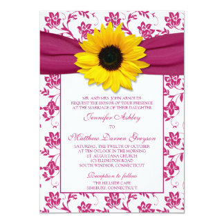 Sunflower Pink Damask Floral Wedding Invitation