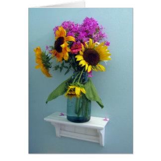 Sunflower Pink Phlox in Vintage Aqua Canning Jar Card