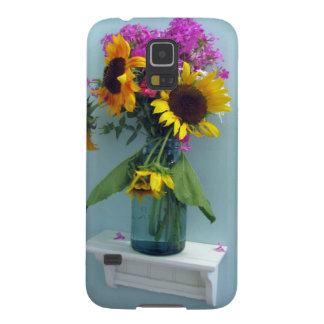 Sunflower Pink Phlox in Vintage Aqua Canning Jar Galaxy S5 Cover
