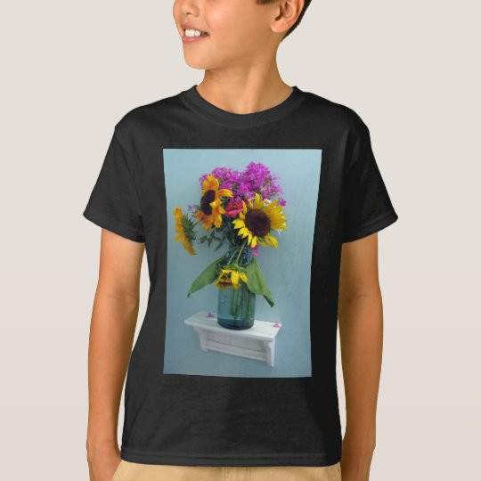 Sunflower Pink Phlox in Vintage Aqua Canning Jar T-Shirt