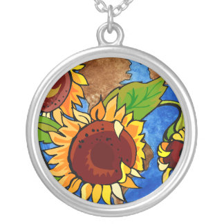 Sunflower Planet Silver Plated Necklace