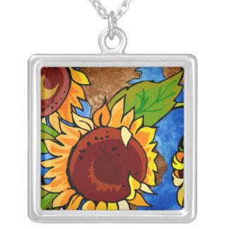 Sunflower Planet Square Pendant Necklace