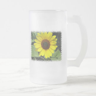 Sunflower Plant Frosted Beer Mug