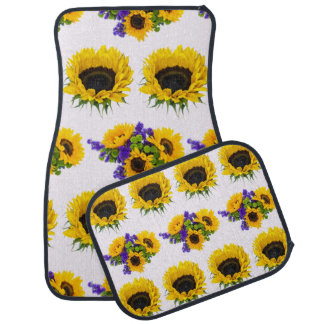 Sunflower Plant, Petals, Leaves - Yellow Green Car Floor Mat