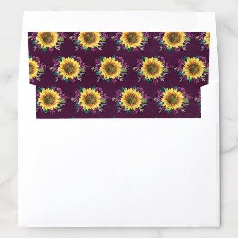 Sunflower Plum Purple Rose Floral Wedding Envelope Liner