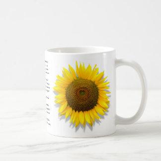 Sunflower poem, heart inside /Mug size 11oz