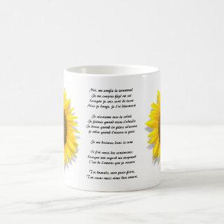 Sunflower poem, heart inside /Mug size 11oz Coffee Mug