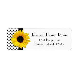 Sunflower Polka Dot Wedding Return Address Labels