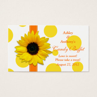 Sunflower PolkaDot Wedding Candy Buffet Gift Cards