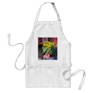 Sunflower Pot Apron, Artist Smock Adult Apron
