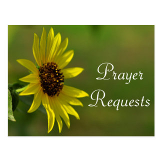 Sunflower Prayer Request Card