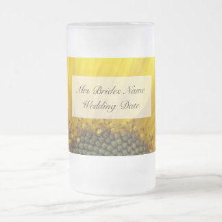 Sunflower Print Brides Wedding Glass Frosted Glass Beer Mug
