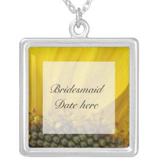 Sunflower Print Bridesmaids Wedding Necklace