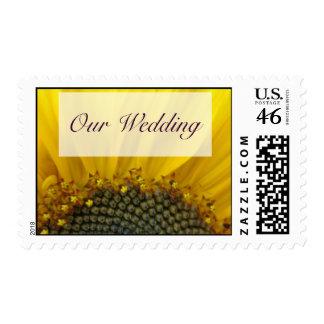 Sunflower Print Wedding Postage Stamp