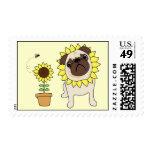 Sunflower Pug Postage Stamps