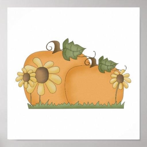 sunflower pumpkins poster